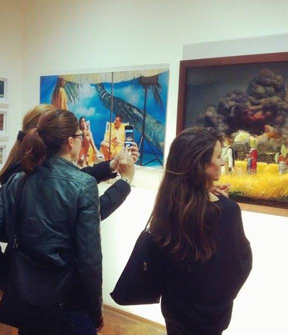 Kris Kind, Parallel Vienna, Sommertag, Painting, 100 x 100 cm, unique, collage, oilpainting, 2016, #sommertag #painting #collage #mixedmedia #artwork #hommage #biedermeier #kriskind #kindkris #oilpainting #parallelvienna #artfair #exhibition