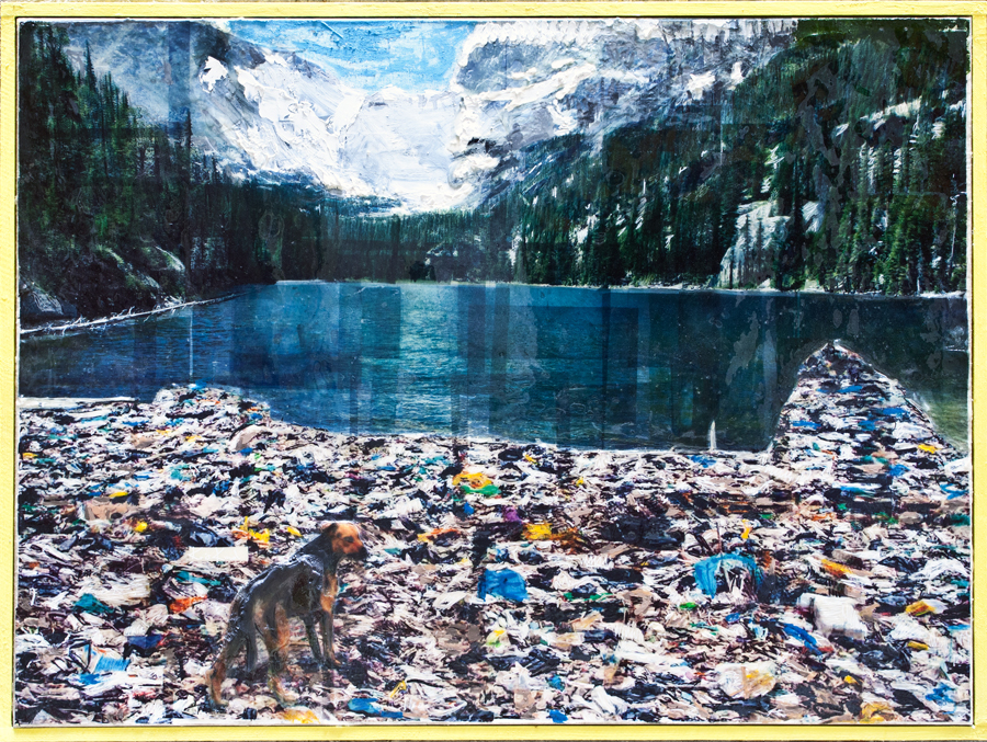 Bergsee, Kris Kind, 2014, Painting, Collage, Oilpainting, 150 x 100 cm unique #kriskind #painting #collage #artwork #unique #bergsee framed signed