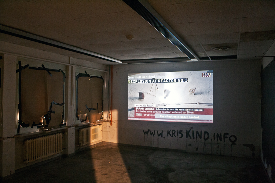 Kettenreaktion Fukushima, Video Installation, Kris Kind, 2011, 2019, #Kettenreaktion2016 #swiss #artwork #streetart #festival #kriskind #kindkris #fukushima50 #exhibition #gallery #streeartfair #artfair