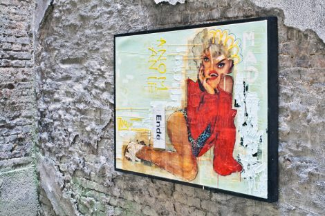 madwoman, Kris Kind, 2016, 170 x 110 cm, unique painting, collage, oilpainting, #kriskind #madonna #oilpainting #collage #portrait #artwork #kindkris #madwoman #assemblage #unique #framed #exhibition #artinthebackyard