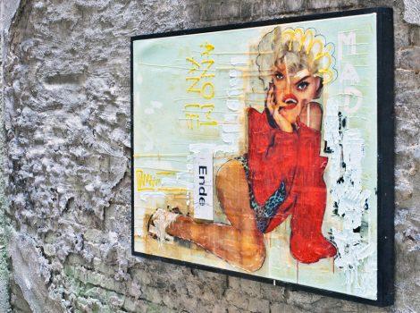 madwoman, Kris Kind, 2016, 170 x 110 cm, unique painting, collage, oilpainting, #kriskind #madonna #oilpainting #collage #portrait #artwork #kindkris #madwoman #assemblage #unique #framed #exhibition #artinthebackyard